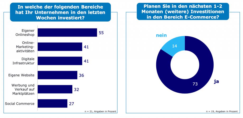 Umfragegrafik zu Unternehmensbereichen im E-Commerce