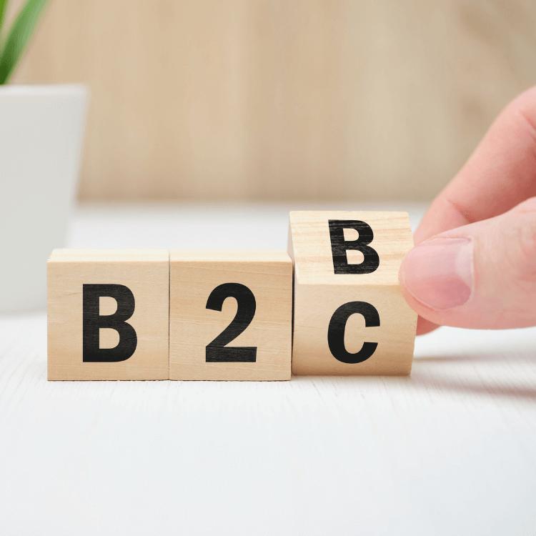 """Bausteine mit Aufschrift: """"B2B"""" und """"B2C"""""""