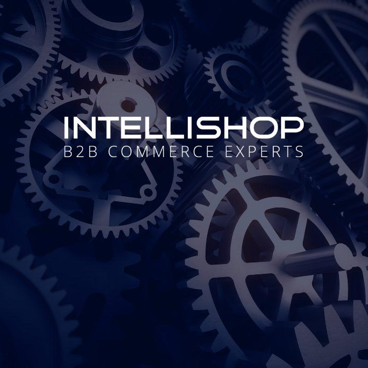 """Zahnräder mit Schriftzug """"IntelliShop B2B Commerce Experts"""""""